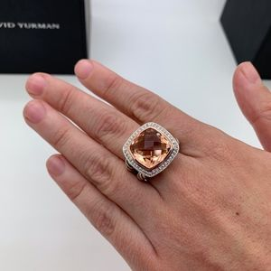 David Yurman 925 18KT 14mm Morganite Ring Sz.7